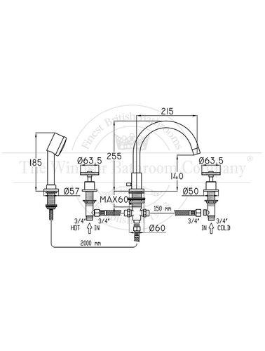 Steel & Brass Industrie-4-Loch Wannenarmatur mit SB260 runden Griff