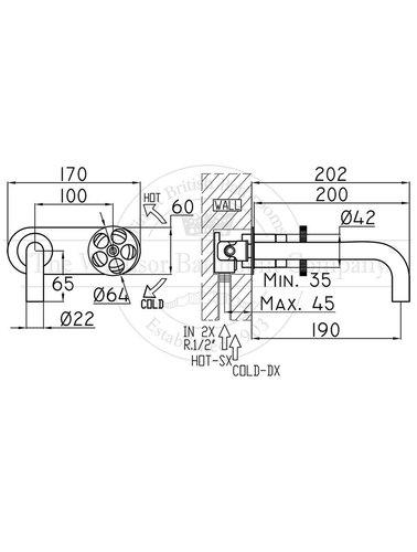Steel & Brass Industrielle Einbauspüle Wasserhahn SB690 mit rundem Griff