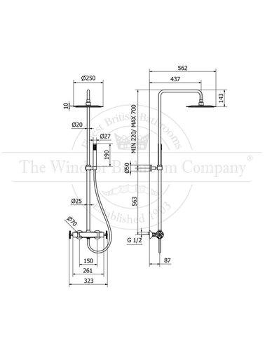 Steel & Brass Industrial building rainshower SB633 with round handle