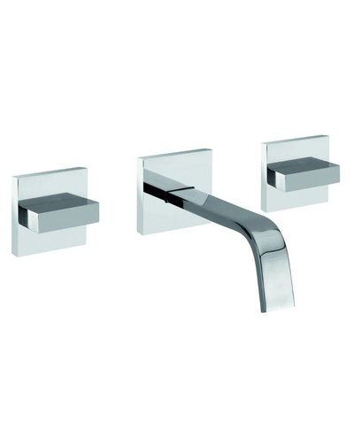 Steel & Brass Industrial 3-hole basin faucet wall mounted SBPS740 with square handle