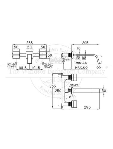 Steel & Brass Industrie-3-Loch-Waschtischarmatur Wand montiert SBPS740 mit quadratischen Griff