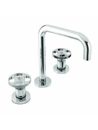 Steel & Brass Industrial 3-hole washbasin tap with round handle