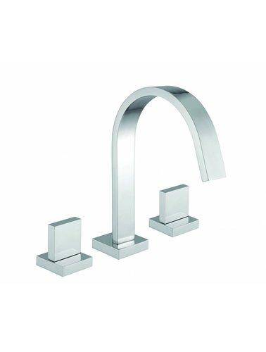 Steel & Brass Industrie-3-Loch-Waschtischbatterie mit quadratischem Griff