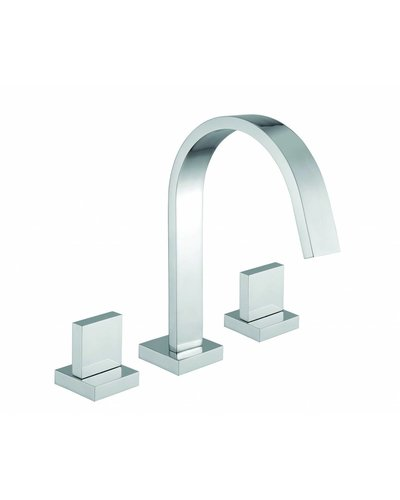 Steel & Brass Industrial 3-hole washbasin faucet with square grip