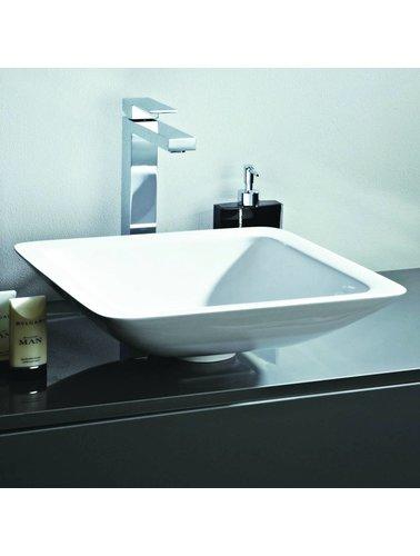 Steel & Brass Square composite set-top sink