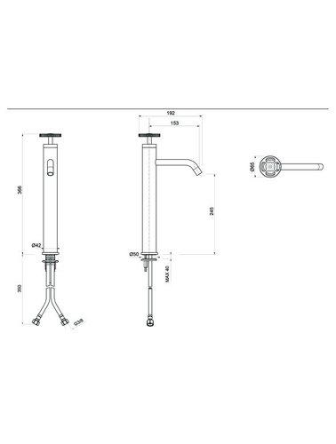 Steel & Brass Industrial 1-hole washbasin tap 186mm   366mm