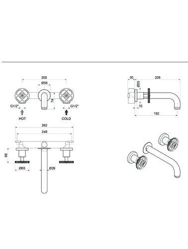 Steel & Brass Industrie-3-Loch-Waschtischarmatur Wand montiert Griffe mit rundem