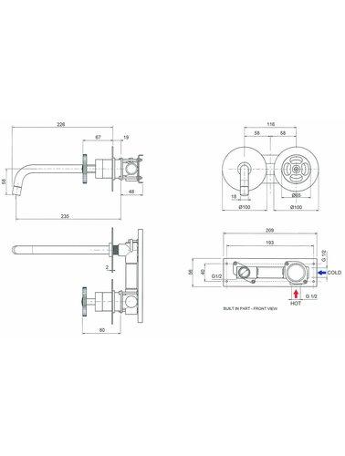 Steel & Brass Industrial 2-Loch-Spülbatterie Griffwand mit einem runden Befestigungs