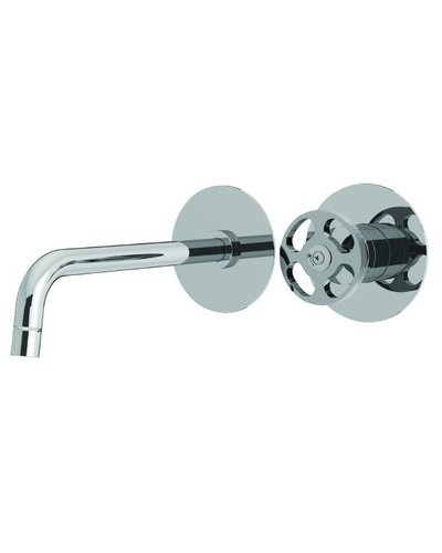 Steel & Brass Industrial 2-hole washbasin tap wall mounting with round handle