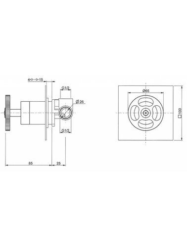 Steel & Brass Industriele 1-gats inbouw meng douchethermostaat