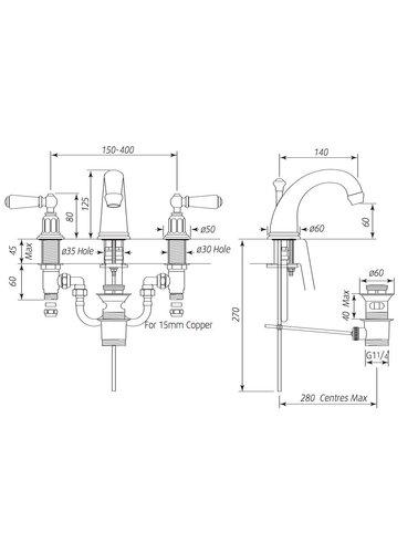 Perrin & Rowe 3-Loch Spülbatterie E.3700 mit Hebeln