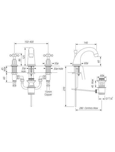 Perrin & Rowe 3-Loch Spülbatterie E.3701 mit Kreuzgriff
