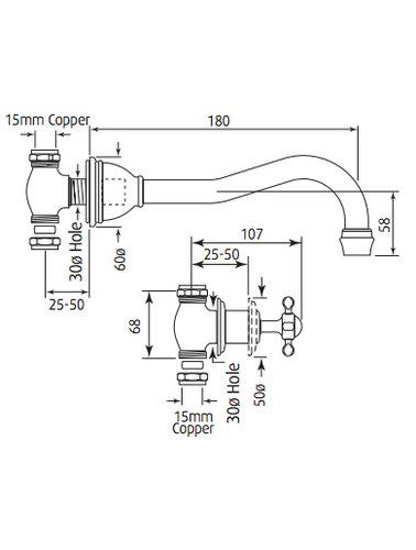 Perrin & Rowe 3-hole washbasin mixer wall E.3791