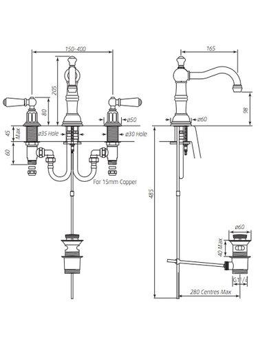 Perrin & Rowe 3-Loch-Waschtischbatterie mit Griffen ausgestattet E.3720