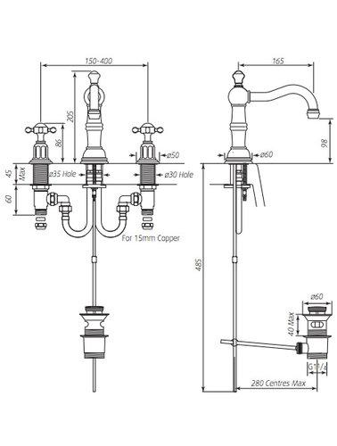Perrin & Rowe 3-Loch-Waschtischbatterie mit E.3721 Traverse