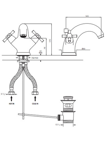 Perrin & Rowe 1-hole washbasin tap E.3826 with cross-grips