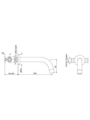 Perrin & Rowe 3-gats wastafelkraan E.3321 met hendels
