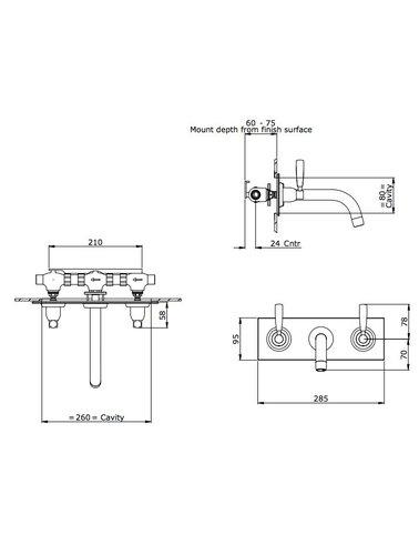 Perrin & Rowe 3-Loch Spülbatterie E.3334 mit Hebeln
