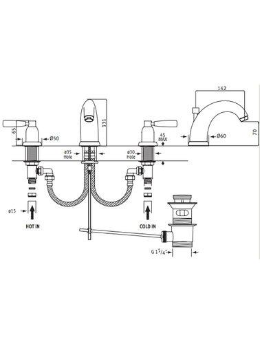 Perrin & Rowe 3-Loch Spülbatterie E.3830 mit Hebeln