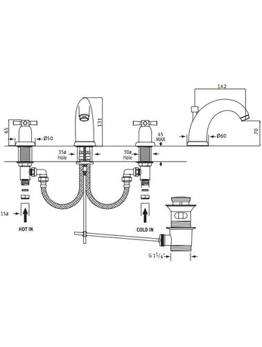 Perrin & Rowe 3-Loch Spülbatterie E.3831 mit Kreuzkopf