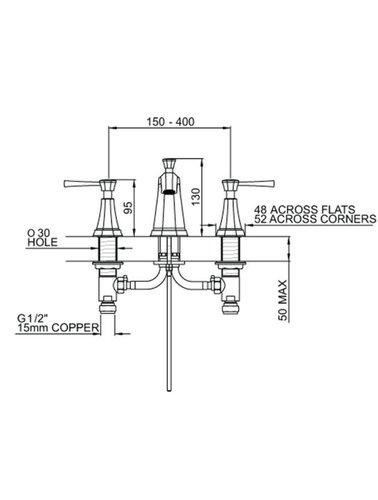 Perrin & Rowe 3-Loch Spülbatterie E.38301 mit Hebeln