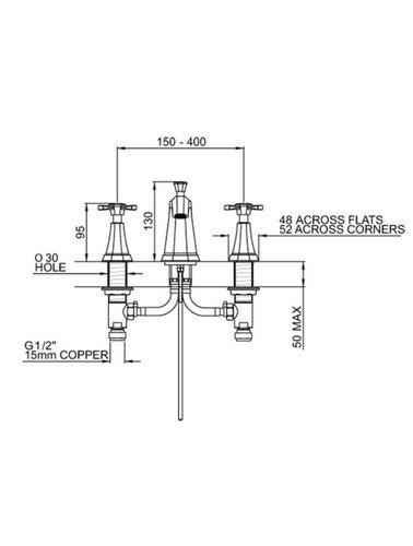 Perrin & Rowe 3-Loch Spülbatterie E.3142 mit Kreuzkopf