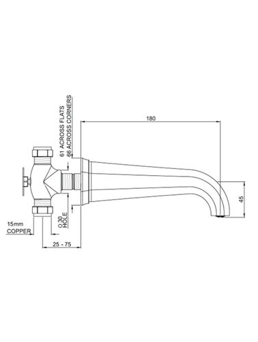 Perrin & Rowe 3-gats wastafelkraan wand E.3170 met hendels