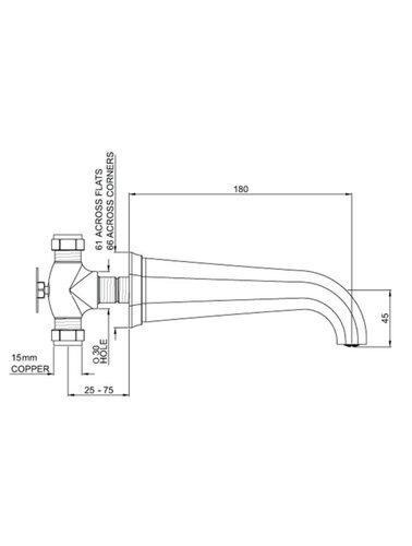 Perrin & Rowe 3-Loch-Wand Spülbatterie E.3170 mit Hebeln