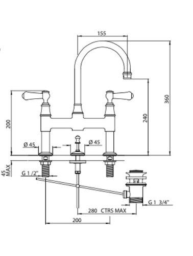 Perrin & Rowe 2-Loch-Waschtischbrückenkran E.3708 mit Griffen und Zugstangen-Ablauf