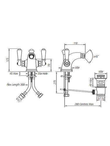 Perrin & Rowe 1-hole Bidet tap E.3685 with handles