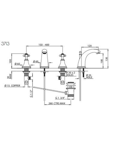 Perrin & Rowe 3-Loch Spülbatterie E.3713 mit Traverse, C Auslauf und Ablaufgarnitur.
