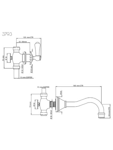Perrin & Rowe 3-Loch-Mischbatterie für Spülen E.3793 mit Hebeln und Land Ausguss; Wandbefestigung