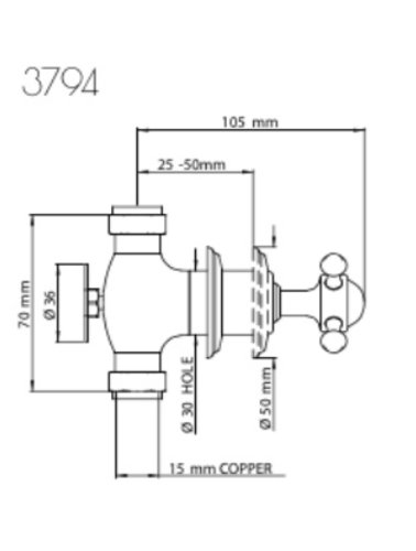 Perrin & Rowe 3-Loch-Mischbatterie für Spülen E.3794 mit Kreuzkopf und Land Ausguss; Wandbefestigung