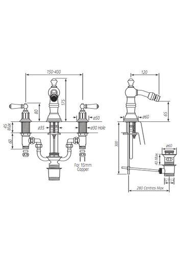 Perrin & Rowe 3-Loch Bidetarmatur E.3765 mit Hebeln und gewaschen Vorrichtung.