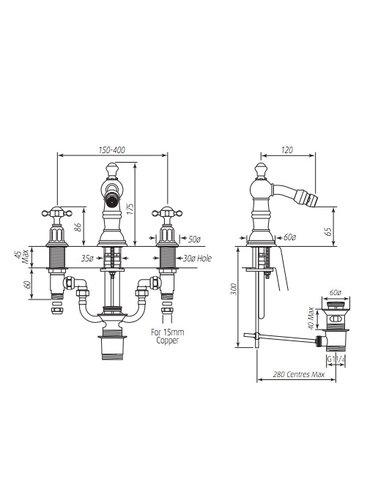 Perrin & Rowe 3-Loch Bidetarmatur E.3766 mit Kreuzkopf und gewaschen Vorrichtung.