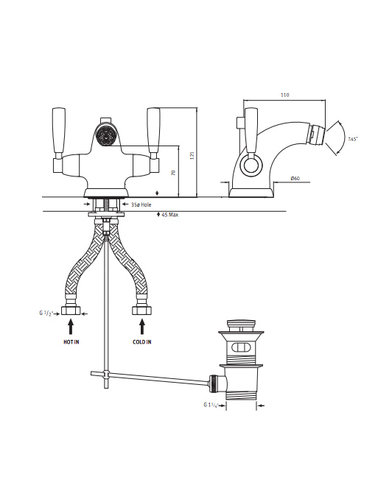 Perrin & Rowe 1-hole Bidet tap E.3885 with handles and waste device.