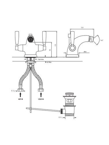 Perrin & Rowe 1-Loch-Bidet Armatur Hebel und mit E.3885 Vorrichtung gewaschen.