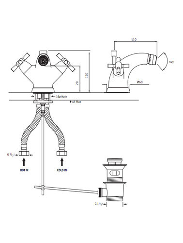 Perrin & Rowe 1-gats Bidetkraan E.3876 met kruisgrepen en waste inrichting.