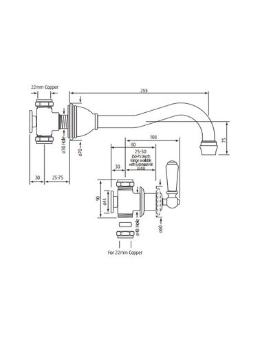 Perrin & Rowe 3-gats wand badmengkraan E.3780 met porseleinen hendels