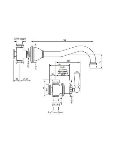 Perrin & Rowe 3-hole wall bath mixer E.3780 with porcelain handles