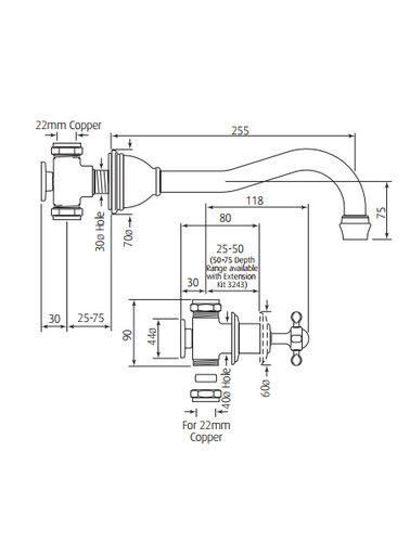 Perrin & Rowe 3-Loch-Wand-Wannenbatterie E.3781 mit Kreuzkopf