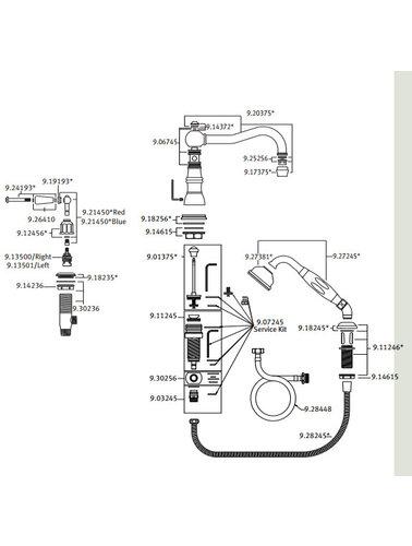 Perrin & Rowe 4-Loch-Bad E.3745 mit Handbrause und Porzellan Hebel.