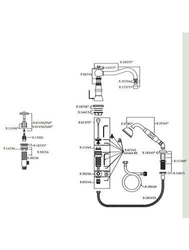 Perrin & Rowe 4-Loch-Bad E.3746 mit Handbrause und Traverse.