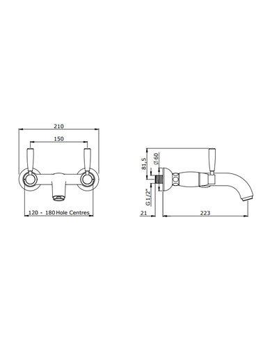 Perrin & Rowe 2-Loch-Wand-Wannenbatterie mit Handgriffen ausgestattet E3822