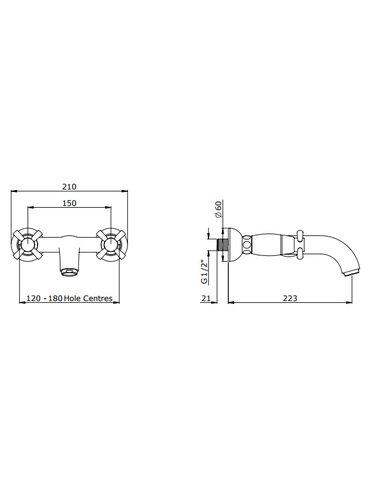 Perrin & Rowe 2-Loch-Wand-Wannenbatterie E.3823 mit kruisgrpen