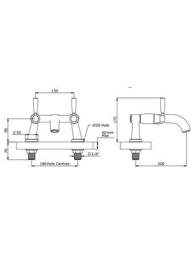 Perrin & Rowe 2-Loch-Wannenbatterie mit Griffen ausgestattet E.3820