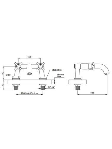 Perrin & Rowe 2-hole bath mixer E.3821 with cross-grips