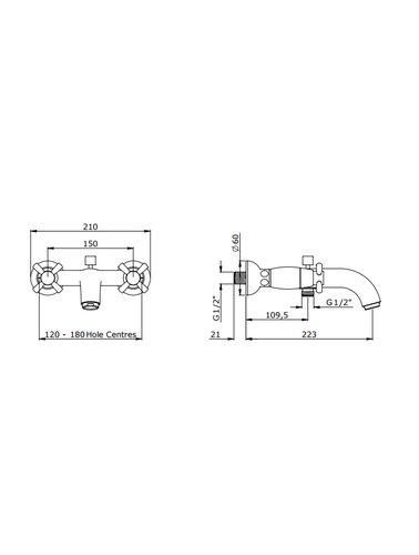 Perrin & Rowe 2-hole wall bath / shower mixer E.3818 with cross-grips