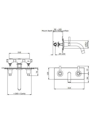 Perrin & Rowe 3-Loch-Wand E.3374 Wannenbatterie mit Wandplatte