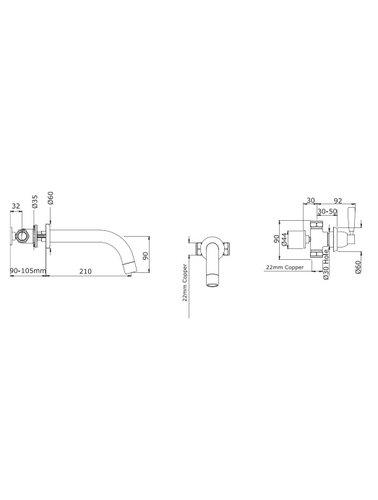Perrin & Rowe 3-Loch-Wand badmenggkraan E.3331 mit Hebeln